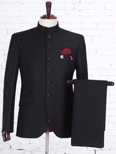 Soli Black Terry Rayon Jodhpuri Suit