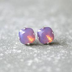 Lavender Raspberry Opal Purple Opal Earrings Swarovski Crystal Lavender Raspberry Opal Stud Earrings Rounded Square Mashugana