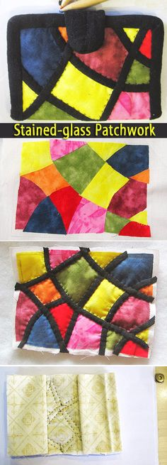 Business Card Holder Stained-glass Patchwork. Sewing Tutorial. Step by step DIY   http://www.handmadiya.com/2016/02/business-card-holder-patchwork-tutorial.html