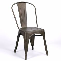 Vintage French Cafe Style Burnished Zinc Dining Chair