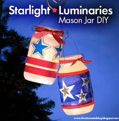 20 Patriotic Craft DIYS  We could use baby food jars...and elmers glue which gives the jars a milky look.