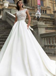 2017 Lace Bodice A-line Satin Wedding Dress