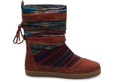 Cognac Nepal Boots aus Veloursleder und Textil für Damen | TOMS