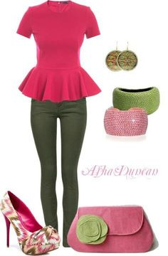 Pink and green...I'd wear this without the bracelets or purse :)
