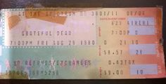 Grateful Dead, The Philly Spectrum 8-29-1980 ticket stub - Thanks To Judy BBF for the photo, We went to this show a long time ago together. ($9 ticket price). It was a hot one ! (Click on the ticket To Hear The Show). - JB