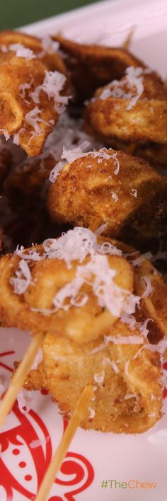 You can't go wrong with this delectable appetizer - especially since it now comes on a stick! Fried Tortellini Skewers by Clinton Kelly! #TheChew