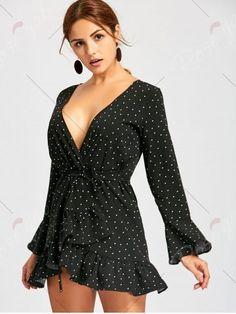Flounce Polka Dot Long Sleeve Wrap Dress