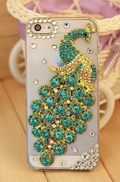 Bling peacock phone case for iPhone 5 5S 5C