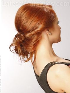 A Bump and a Twist- This elegant up-do would look great with any hair color.  A side part, a teased crown, and a sleek twist all come together beautifully into a low messy bun. Super cute without looking too stuffy.