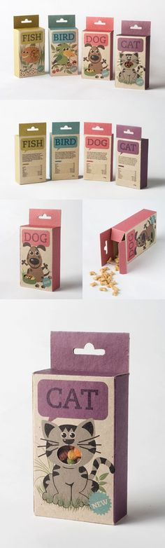 "Pet food / by Sara Strand - ""Fish, Bird, Dog & Cat is a line of animal food/candy. Organic food/candy which comes in a packaging with little windows. So you can easily see what product youre buying for your pet. Clever Packaging, Candy Packaging, Food Packaging Design, Print Packaging, Logo Animal, Illustration Inspiration, Design Package, Affinity Designer, Ocelot"