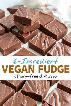 Vegan Fudge (with 6 ingredients!) – Nancy Orozco Vegan Fudge (with 6 ingredients!) This VEGAN FUDGE is easy to make, using just 6 ingredients! Naturally sweetened and dairy-free, it's a healthy dessert that leaves you feeling satisfied. Desserts Végétaliens, Desserts Sains, Healthy Dessert Recipes, Mexican Desserts, Paleo Dessert, Delicious Desserts, Dinner Recipes, Vegan Treats, Vegan Foods