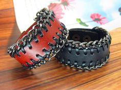 Red Real Leather Cuff Women Leather Bangle Bracelet, Men Leather Cuff Bracelet FSL0019-R via Etsy