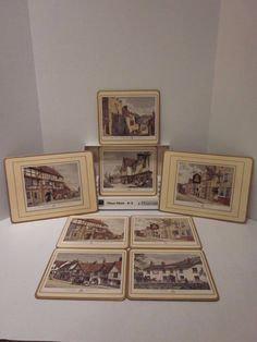 8 Pimpernel Vintage Placemats Old English Inns Cork England Rectangular Complete #Pimpernel