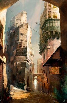 Illustration / Fantastic Concept Art by Daniel Dociu Fantasy City, 3d Fantasy, Fantasy Places, Fantasy World, Landscape Concept, Fantasy Landscape, Landscape Design, Environment Concept Art, Environment Design