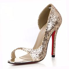 Find More Women's Pumps Information about Stunning Gold Bridal Shoes for Women Peep Toe Sequined Cloth Shoes12cm Thin Heels Summer High Heels Wedding Shoes Red Sole Shoes,High Quality shoes basketball shoes,China shoes vic Suppliers, Cheap shoe rope from JoJoBridal on Aliexpress.com