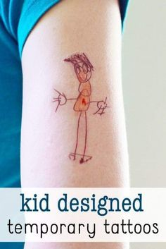 Great Father's Day gift! DIY temporary tattoos made from kid artwork.