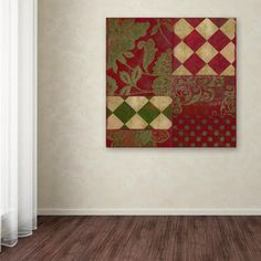 """35 in. x 35 in. """"Merry Christmas Patchwork II"""" by Color Bakery Printed Canvas Wall Art"""