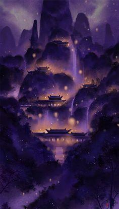 Anime Scenery Wallpaper, Landscape Wallpaper, Galaxy Wallpaper, Nature Wallpaper, Wallpaper Backgrounds, Disney Wallpaper, Fantasy Art Landscapes, Fantasy Landscape, Fantasy Artwork
