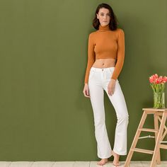 WHITE JEAN FLARED TROUSERS #mys19