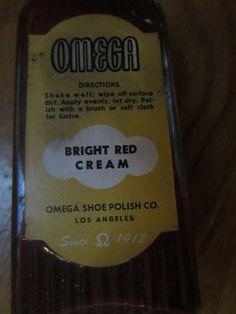 Vintage OMEGA BRIGHT RED CREAM SHOE POLISH glass bottle Los Angeles Advertising