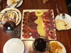 Spain.  Tapas. Jamon serano, queso, pan y vino.