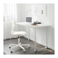 LINNMON / KRILLE Table, white white 47 1/4x23 5/8