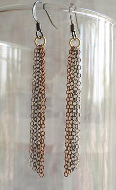 Chain Dangle Earrings Multi Metals by cutterstone on Etsy, $12.00