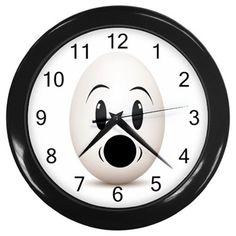 Surprised Egg Face Plastic Black Frame Battery Novelty Kitchen Wall Clock #CustomMade #Novelty #clock