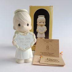 Vintage Precious Moments God Sent His Love Figurine 15881, Boy Angel Holding…