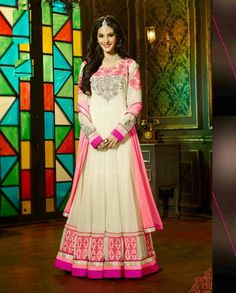 Cream and pink anarkali suit with embellished border (Semi-Stitched Fa – Rutbaa India