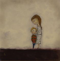 Sweet moment with mom and little boy.  Love this painting.