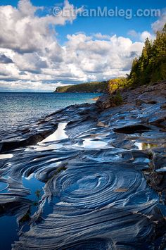 Bruce Peninsula National Park, Ontario ~ Conchoidal fractures in the dolostone bedrock at Little Cove.  Photo: Ethan Meleg