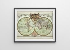 New to BySamantha on Etsy: Antique World Map Reproduction Print of Vintage World Map - Old Globe Earth Map Chart - 1700s World Map Illustration - SKU: 025 (9.00 USD)
