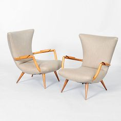 Giuseppe Scapinelli; Low Armchairs,  1950s.