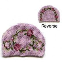Dollhouse needlepoint teacosy kit - Flower ring pink