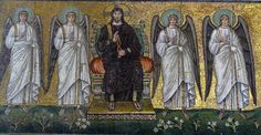 """Basilica of Sant'Apollinare Nuovo in Ravenna, Italy: """"Christ surrounded by angels and saints"""". Mosaic of a Ravennate italian-byzantine workshop, completed within 526 AD by the so-called """"Master of Sant'Apollinare""""."""