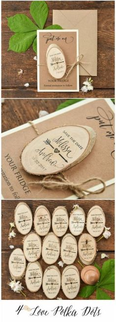 Save the Date with wooden magnet - just $1.30 per set! #wedding #savethedate #wood #rustic #eco #country #weddingannouncement