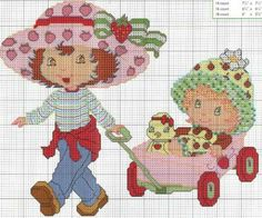 Hobbies And Crafts, Crafts For Kids, Cross Stitch Patterns, Crochet Patterns, Z Craft, Stitch Cartoon, Christmas Ornament Crafts, Cute Characters, Strawberry Shortcake