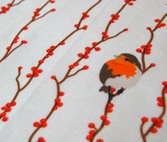 Red Birds (eating berries) by verycherry on Spoonflower
