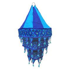 Lampenschirm Laterne quadratisch blau - türkis 70 cm Hängeleuchte Patchwork Deko