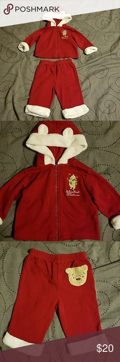 1st Christmas outfit So cute!!! Classic Pooh baby's first Christmas outfit. Has Pooh's head on the back of the pants. Size 0-3 months. Great shape, only worn once! Smoke free, pet friendly home. Disney Matching Sets