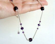 Amethyst necklace, genuine gemstones, purple gem stations on sterling silver rolo chain, handmade, Let Loose Jewelry, for her under 75