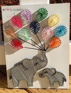 Elephant Baby Shower Custom String Art diy Creative DIY String Art Project Ideas - Page 2 of 5 Cute Crafts, Crafts To Make, Arts And Crafts, Diy Crafts, Resin Crafts, Preschool Crafts, String Art Diy, String Crafts, String Art Balloons