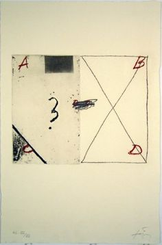 Grafik Antoni Tàpies, Barcelona, title: A, B, C, D, technology: Etching and aquatint