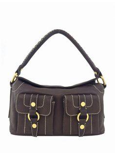 Celine Leather Handle Bag Brown