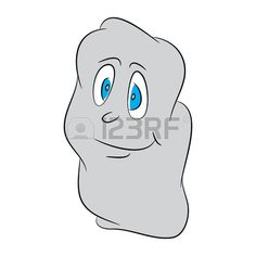 Image of shy, lovely, cute, halloween cartoon ghost. Vector illustration isolated on black background.