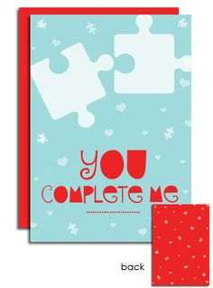 Puzzle Piece Valentine's Day Card by SentWell on Etsy, $2.50