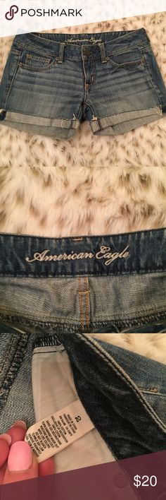 American Eagle Denim Jean distressed Shorts American Eagle Jean Shorts! Size 2. Super cute and so versatile ... in excellent used condition! American Eagle Outfitters Shorts Jean Shorts