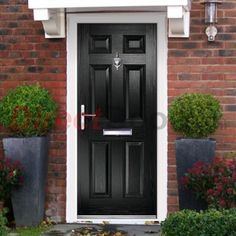 Lifestyle Image of External Simplicity Carlton Solid Composite Door, shown in Black