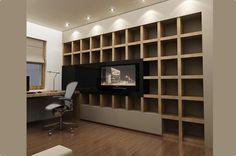 Aranżacja gabinetu wystrój nowoczesny w kolorach brąz - projekt wnętrza #5995634, Homplex